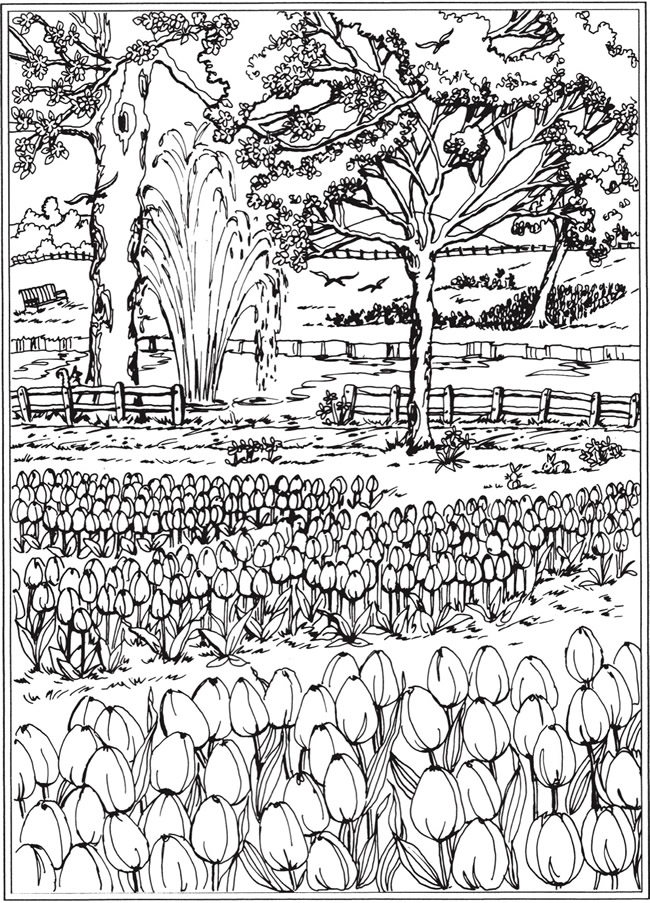 spring scene coloring pages - photo#33