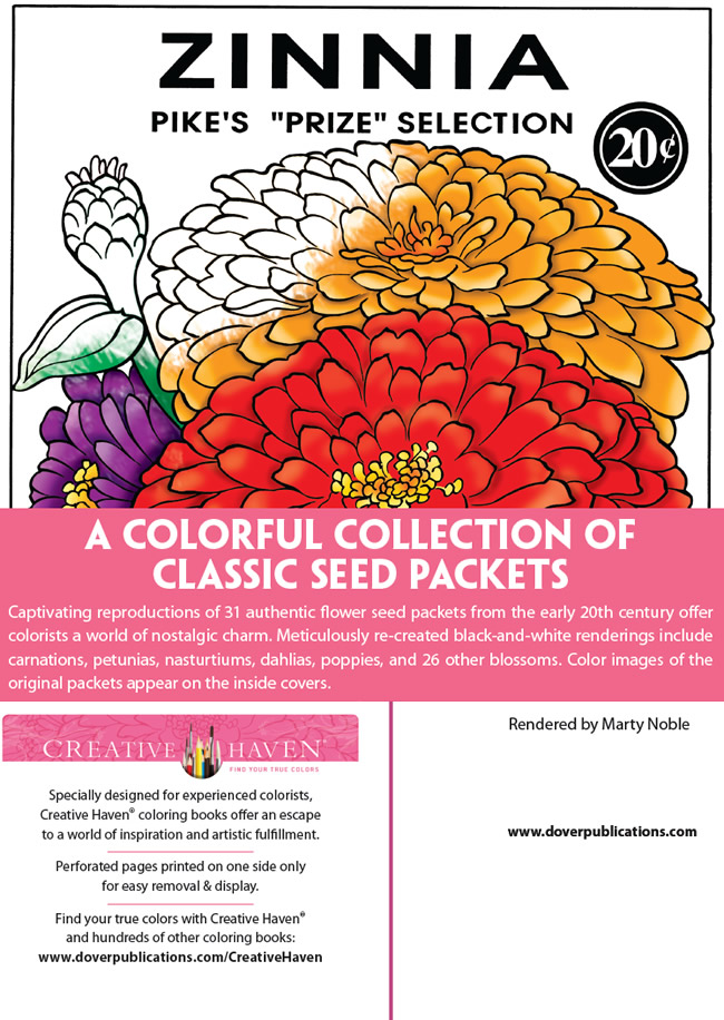 Amazon.com: Creative Haven Vintage Flower Seed Packets Coloring ... | 916x650