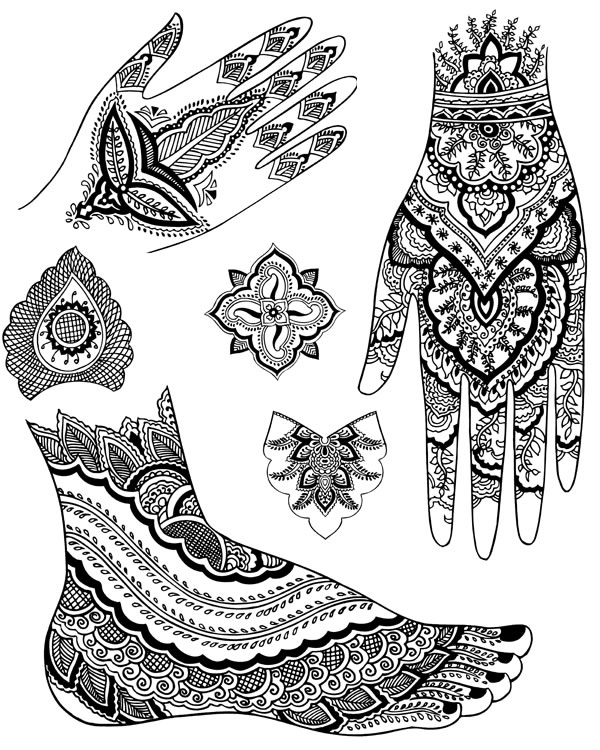 Mehndi Design Line Art : Welcome to dover publications